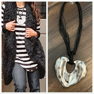 Jewelry - Beautiful hammered heart leather necklace